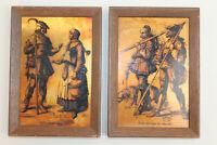"2 Vintage German? Etch Etchings Copper Pictures Men Dog Maiden Woman 6.75""x4.75"""