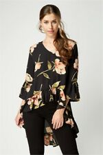 Roman Black Floral Dip Hem 3/4 Sleeve Top - Size: 8