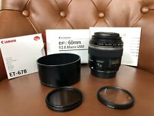 Canon Ef-S 60mm f/2.8 Af Usm Lens with accessories