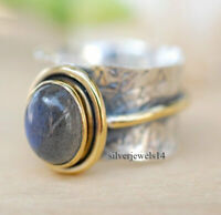 Labradorite Solid 925 Sterling Silver Brass Spinner Ring Wide Band Jewelry g34