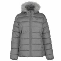 Lee Cooper All Over Pattern Textured Padded Jacket Ladies Puffer Coat Top Full