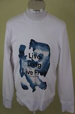 H&M HM Mens White Crewneck Sweater Long Sleeve Size Medium Live Long Live Free