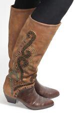 Damenstiefel Vintage Stiefel Blogger Hipster Ethno High Heels Metallic Braun 38