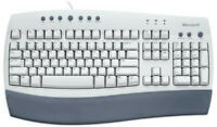 NEW White/Beige Vintage Microsoft Internet Keyboard - Ergonomic Wired PS/2