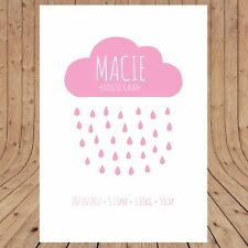 Personalised BIRTH POSTER Print Announcement  Wall Art A3 DIGITAL YOU PRINT