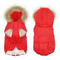 Red Dogs Waterproof Winter Clothes Pet Warm Coat Jacket Hoodie Outfit Chihuahua