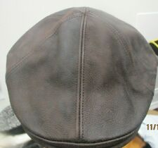 Goorin Bros  Rugged Dark Brown Leather Duckbill Cap USA Medium