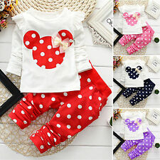 2PCS Kid Baby Girl Minnie Outfits Clothes Set Long Sleeve T Shirts Tops + Pants