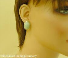 Classic 14k Yellow Gold Green & White Mottled Jade Omega Back Earrings 9.25 gram