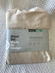 Made By Design Solid Easy Care Sheet Set Twin/Twin XL Cream/ Tan
