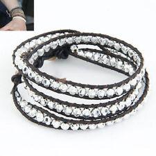 Modeschmuck-Armbänder aus Leder und Metall-Legierung Perlen