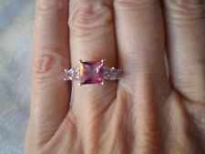 Mystic Pink Topaz ring, Size L/M , 2.54 carats, 2.4 grams of 925 Sterling Silver
