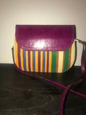 African Wax Print Real Leather Clutch Bag Handmade Bag, Magnetic Snap, PINK