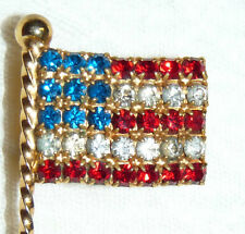 Vintage Gold Tone Red-Clear-Blue Rhinestone American Flag Brooch/Pin  RR97
