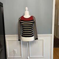 Sonia Rykiel Knit Top Sweater Size 40 Long Sleeves Cotton Stripes