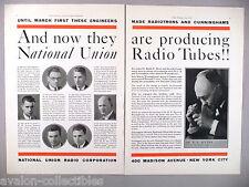 National Union Radio Tube 2-Page PRINT AD - 1930 ~~ tubes, Dr. R.E. Myers