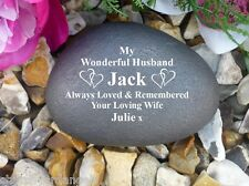 Personalised Memorial Pebble (Stone Effect) Linked Hearts - Husband