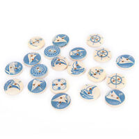 10PCs Natural Wooden Round Buttons Blue Nautical Design Sewing Accessories PIFIJ