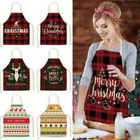 Adult Christmas Apron Santa Claus Elk Christmas Tree Pattern Cotton Linen Aprons