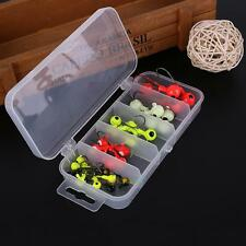 30pcs 1.8g/3.5g/5g/7g/10g Lead Jet Head Hooks Fishing Lures Bait Tackle with Box