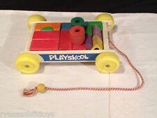 Original 1970'S  Vintage Play Skool Wooden Blocks & Wagon Complete Baby Toy