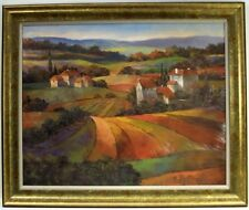 Tuscan landscape framed art canvas w/ village and rolling hills in the distance.