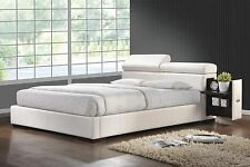 COOL CONTEMPORARY WHITE FAUX LEATHER QUEEN BED WITH ADJUSTABLE PILLOW HEADBOARD