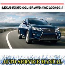 LEXUS RX350 GGL15R AWD 4WD 2009-2014 WORKSHOP SERVICE REPAIR MANUAL ~ DVD