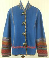 Coldwater Creek XL Blue Boiled Wool Lined Jacket Southwest Blanket Aztec Concho