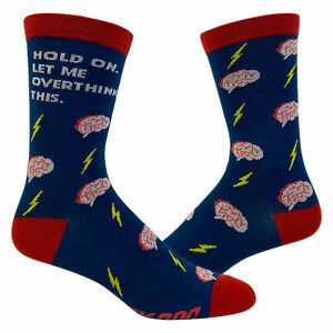 Women's Hold On Let Me Overthink This Socks Funny Sarcastic Anixeity Graphic