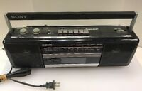 Sony CFS-210 Soundrider Boombox AM FM Stereo Cassette with AC Cord Black Vintage