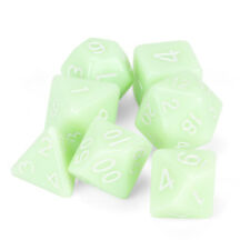 Ghost Jade 7 Dice Polyhedral Set in Velvet Pouch, Game RPG D&D