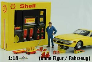 Shell Workshop Tool Set Yellow Diorama Without Figurine 1:18 GMP