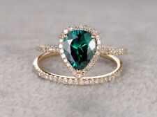 2 CT Pear Shape Green Emerald Engagement Ring Wedding Bridal Ring Band 2pcs  Set