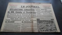 """"""" The Journal """" Edition Of 5 Heures Antique N°16977 Friday 14 April 1939 ABE"""