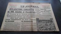 """""""LE JOURNAL"""" EDITION DE 5 HEURES ANCIEN N°16977 VENDREDI 14 AVRIL 1939 ABE"""
