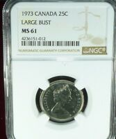 1973 CANADA 25 CENTS LARGE BUST NGC MS 61 UNCIRCULATED