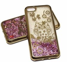 For iPhone 7 / 8 - GOLD OWL Pink Glitter Stars Liquid Water Sparkle Case Cover