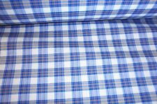 NEW Blue/Beige Plaid polyester cotton fabric cloth material, craft quilts