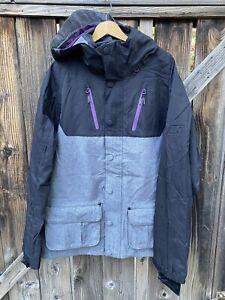NWT ThirtyTwo Cedar Hooded Snowboard Jacket Mens Med  Black/Gray/Purple
