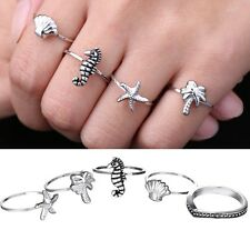 Punk Silver Plated Ocean Starfish Hippocampus Shell Tree Rings Knuckle Ring