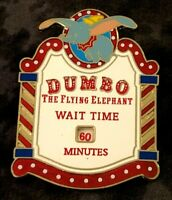 💗 Dumbo the Flying Elephant LE-300 Pin 2009 Disney Wait Time Sign Hong Kong DL