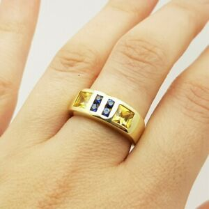 14ct Yellow Gold Ceylon Sapphire Band Ring Val $4800 Size O #36506