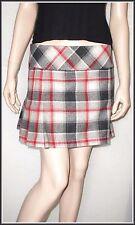 Warehouse Wool Mix Check Pleated Mini Skirt size UK 10  EUR 38