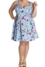 Sale! Plus Size Blue Floral Cotton Dress 2XL 3XL 4XL Summer Tea 1950's