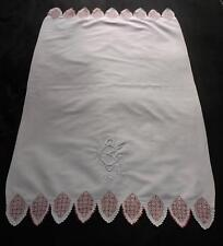Antique Irish Linen Towel TURKEY RED WORK Hand Embroidered Monogram CB/BC