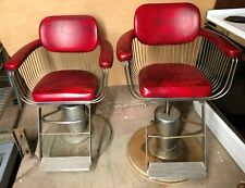 PAIR HAIR DRESSER BARBER CHAIRS RED VINTAGE BEAUTY PARLOR