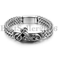 Biker Punk Mens Stainless Steel Motorcycle Curb Wheat Chain Heavy Bracelet 8.66""