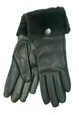 "NEW UGG Women's Black Shearling-Cuff Leather Tech Gloves Size Small ""$145.00"""