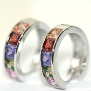 Rainbow Huggie Hoop Earrings 925 Silver Earings for Womens Girls Jewelry 20mm